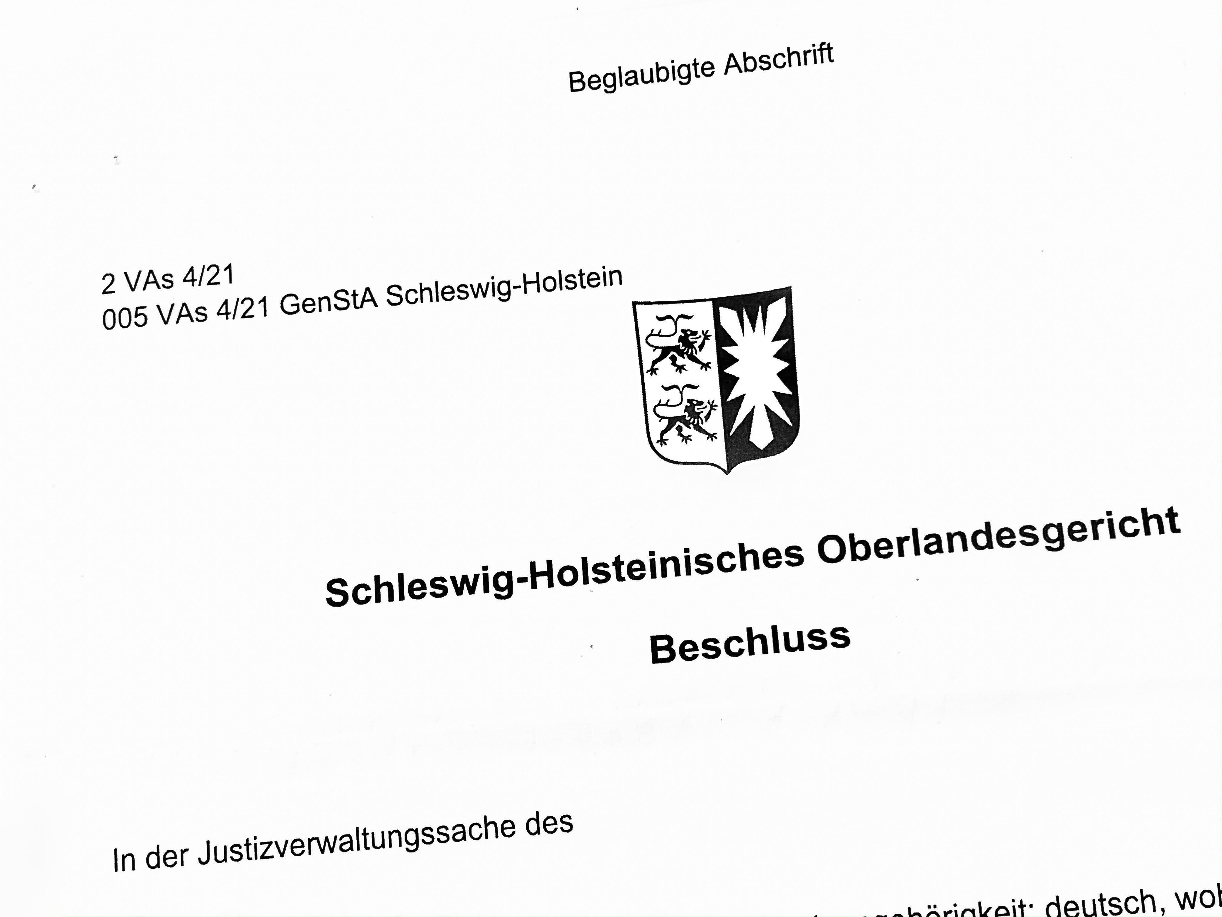 Beschluss Schleswig-Holsteinisches OLG